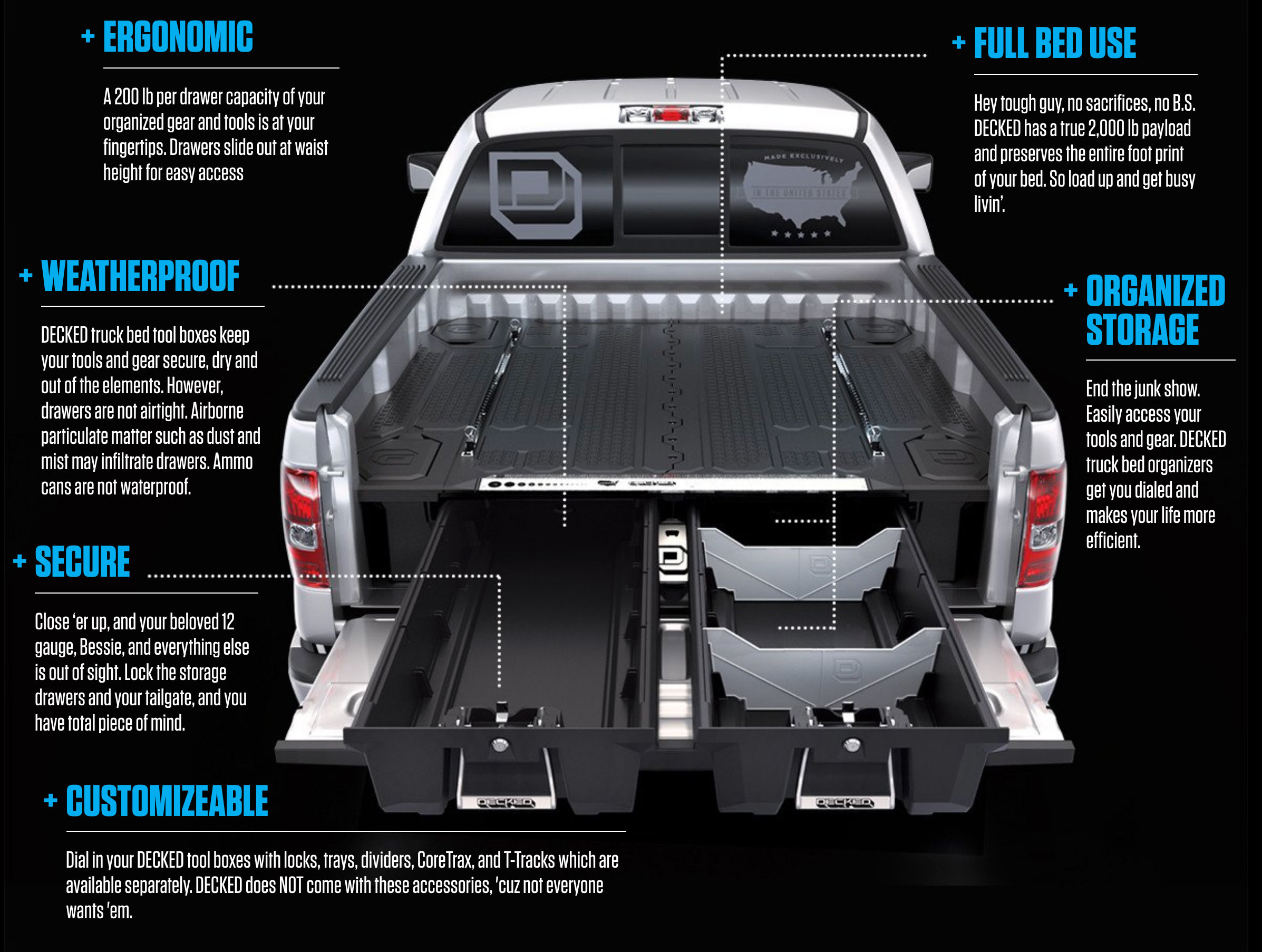 F250 Bed Cover >> Decked Truck Bed Storage - Catlin Truck Accessories